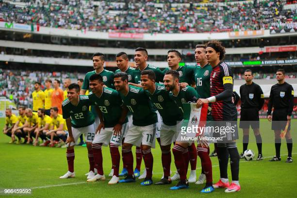 Players of Mexico pose prior the International Friendly match between Mexico and Scotland at Estadio Azteca on June 2 2018 in Mexico City Mexico