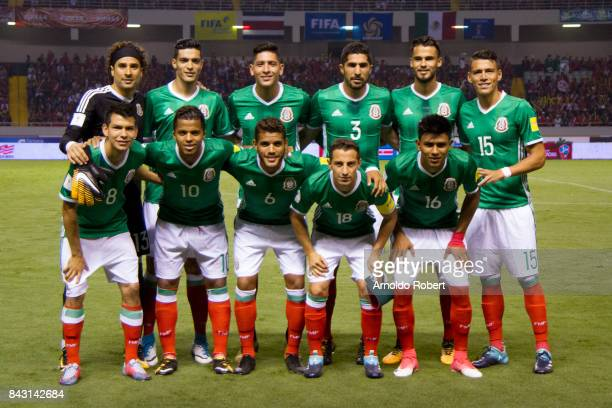 Players of Mexico pose prior the match between Costa Rica and Mexico as part of the FIFA 2018 World Cup Qualifiers at Nacional de Costa Rica Stadium...