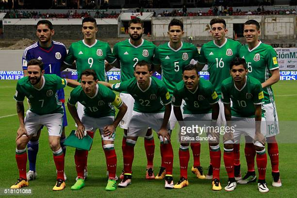 Players of Mexico pose prior the match between Mexico and Canada as part of the FIFA 2018 World Cup Qualifiers at Azteca Stadium on March 29 2016 in...