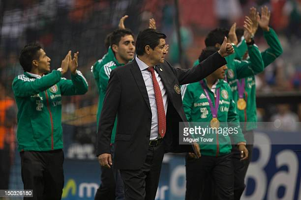 Players of Mexico sub 23 national soccer team cheer with theirs gold medals during a FIFA friendly match between Mexico and US at Azteca Stadium on...