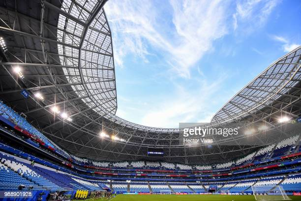 Players of Mexico warm up during a training at Samara Arena ahead of the Round of Sixteen match against Brazil on July 1 2018 in Samara Russia