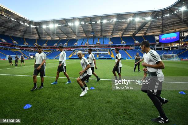 Players of Mexico warm up during a training session ahead of the match against Korea as part of FIFA World Cup Russia 2018 at Rostov Arena on June 22...