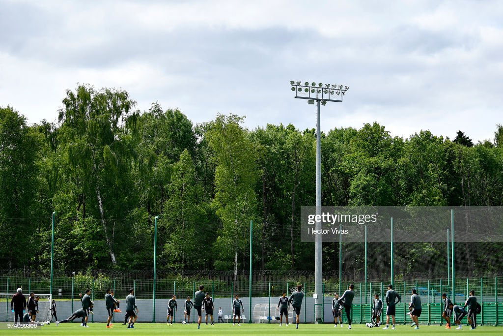 Players of Mexico, warm up during a training session at team training base Novogorsk-Dynamo on June 14, 2018 in Moscow, Russia.