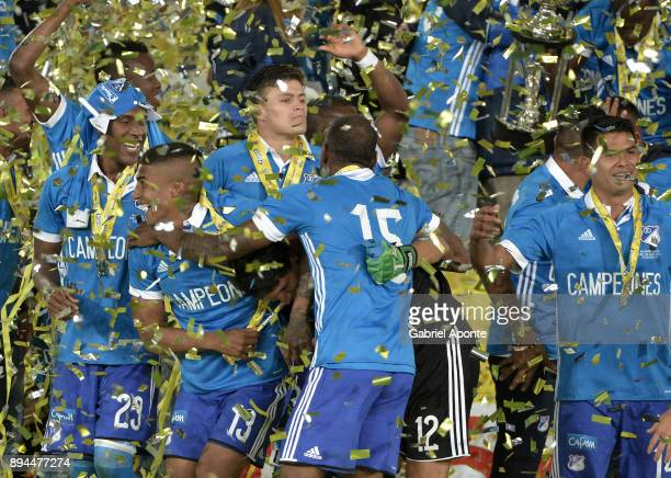 Players of Millonarios a celebrate after winning the second leg match between Millonarios and Santa Fe as part of the Liga Aguila II 2017 Final at...