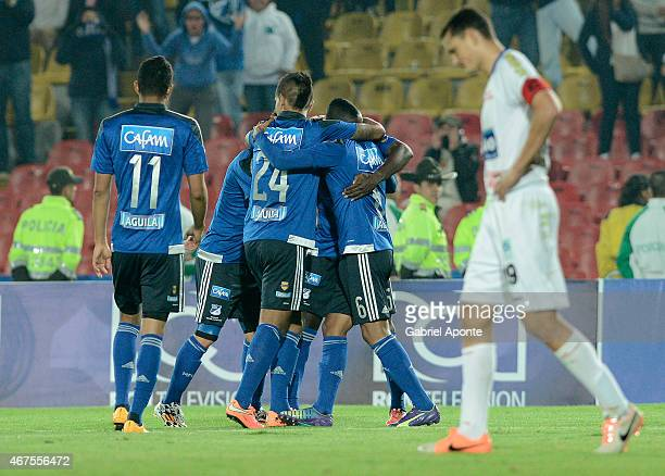 Players of Millonarios celebrate a goal scored by Luis Mosquera during a match between Millonarios and Deportivo Pasto as part of Liga Aguila I 2015...