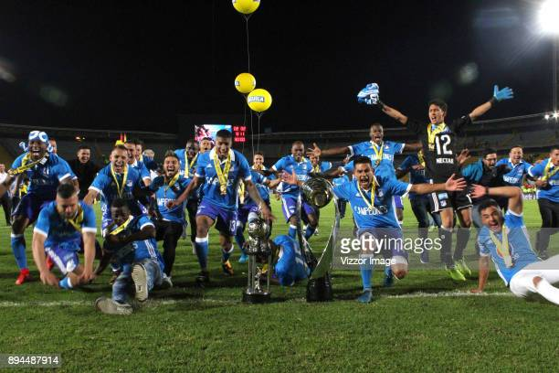 Players of Millonarios celebrate with the trophy after winning the second leg match between Millonarios and Santa Fe as part of the Liga Aguila II...