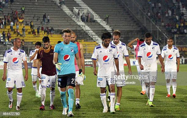Players of Millonarios look dejected after losing a match between Deportes Tolima as part of sixth round of Liga Aguila I 2015 at Manuel Murillo Toro...