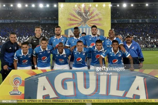 Players of Millonarios pose for a picture prior to the second leg match between Millonarios and America de Cali as part of the Liga Aguila II 2017...