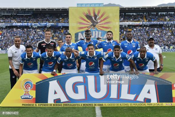 Players of Millonarios pose for a team photo prior to the match between Millonarios and Independiente Santa Fe as part of Liga Aguila II 2017 at...