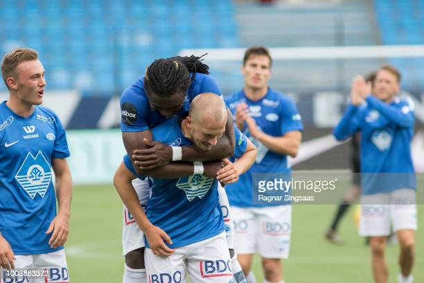 Players of Molde FK celebrate after the UEFA Europa League Qualifier between Molde FK and FC Glenavon on July 19 2018 in Molde Norway