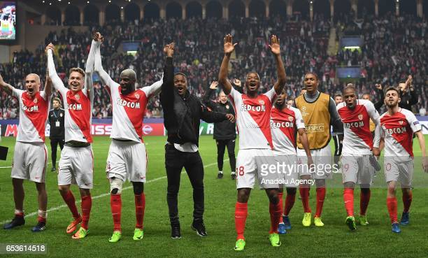 Players of Monaco celebrate after the UEFA Champions League round of 16 second leg soccer match between Monaco and Manchester City at the Louis II...