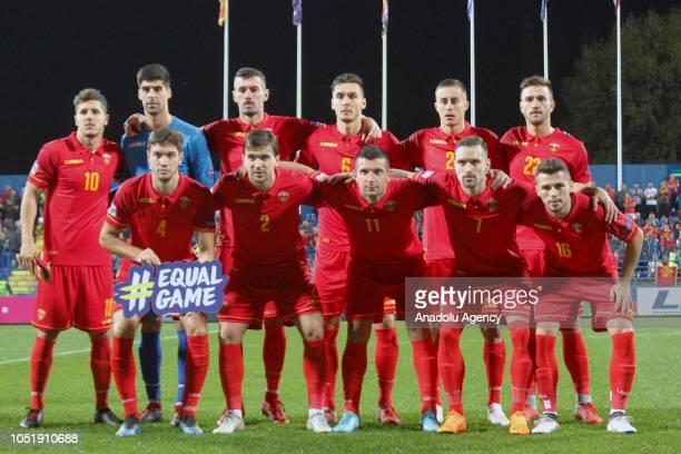Players of Montenegro pose for a team photo ahead of the UEFA Nations League Group 4 of League C soccer match between Montenegro and Serbia at City...