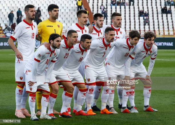 Players of Montenegro team pose for a photo prior to the UEFA Nations League C group four match between Serbia and Montenegro at stadium Rajko Mitic...