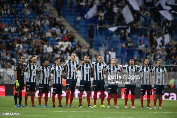Players of Monterrey and Veracruz pay homage to Diana González player of America women's team who passed away recently prior the 17th round match...
