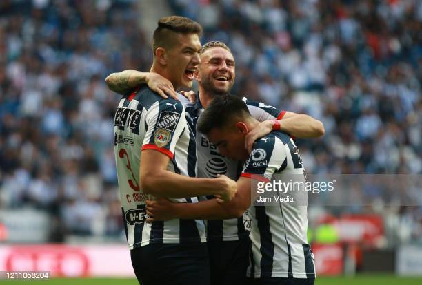 Players of Monterrey celebrate after the second goal of the team during the 9th round match between Monterrey and Atletico San Luis as part of the...