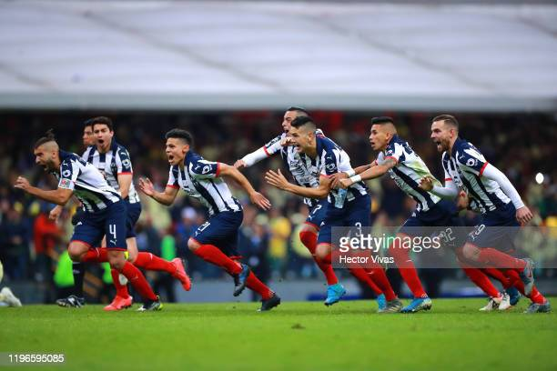 Players of Monterrey celebrate after winning the Final second leg match between America and Monterrey as part of the Torneo Apertura 2019 Liga MX at...