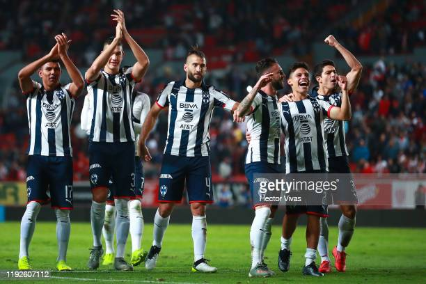Players of Monterrey celebrate after winning the Semifinals second leg match between Necaxa and Monterrey as part of the Torneo Apertura 2019 Liga MX...