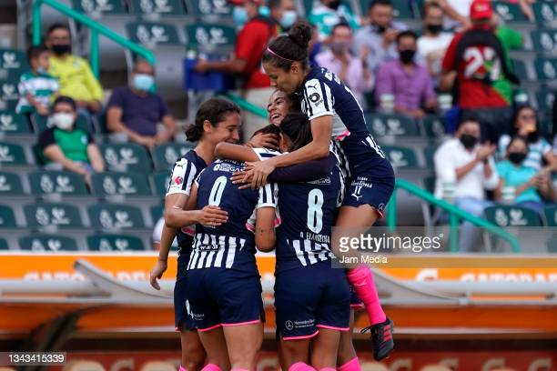 Players of Monterrey celebrate during a match between Santos and Monterrey as part of the Torneo Grita Mexico A21 Liga MX Femenil at Corona Stadium...