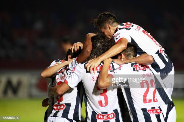 Players of Monterrey celebrate the first goal of the game during the match between Tiburones Rojos and Rayados de Monterrey as part of 4th round...