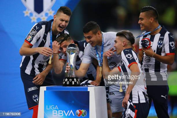 Players of Monterrey celebrate with the Champion Trophy after the Final second leg match between America and Monterrey as part of the Torneo Apertura...