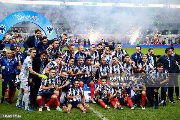 Players of Monterrey celebrate with the champions trophy after the Final second leg match between America and Monterrey as part of the Torneo...