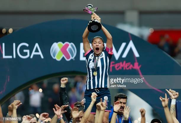 Players of Monterrey celebrate with the trophy after the final second leg match between Monterrey and Tigres UANL as part of the Torneo Apertura 2019...