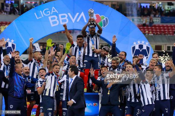 Players of Monterrey celebrate with the trophy after the Final second leg match between America and Monterrey as part of the Torneo Apertura 2019...