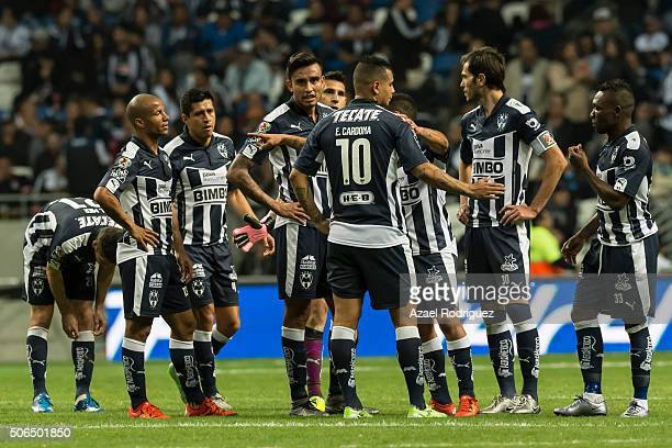 Players of Monterrey gather at the end of the first half of the 3rd round match between Monterrey and Atlas as part of the Clausura 2016 Liga MX at...