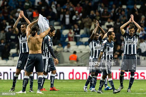 Players of Monterrey greet the fans at the end of the 3rd round match between Monterrey and Atlas as part of the Clausura 2016 Liga MX at BBVA...