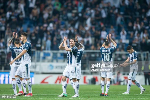 Players of Monterrey greet the fans at the end of the 5th round match between Monterrey and Leon as part of the Torneo Clausura 2018 Liga MX at BBVA...