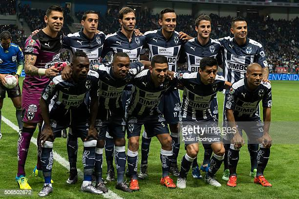 Players of Monterrey pose prior the 3rd round match between Monterrey and Atlas as part of the Clausura 2016 Liga MX at BBVA Bancomer Stadium on...