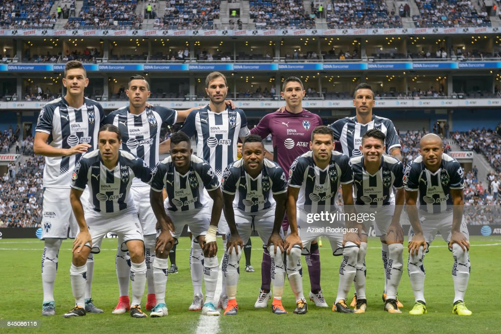 Players of Monterrey pose prior the 8th round match between Monterrey and Necaxa as part of the Torneo Apertura 2017 Liga MX at BBVA Bancomer Stadium on September 09, 2017 in Monterrey, Mexico.