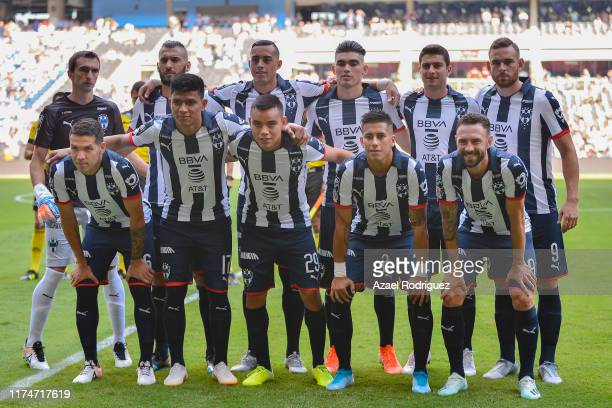 Players of Monterrey pose prior the 9th round match between Monterrey and Necaxa as part of the Torneo Apertura 2019 Liga MX at BBVA Stadium on...
