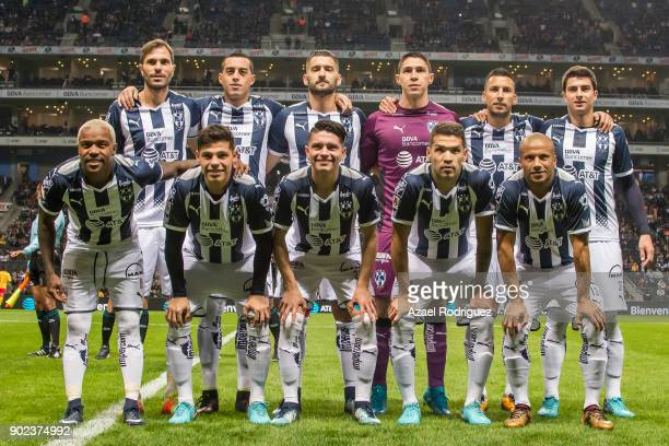 Players of Monterrey pose prior the first round match between Monterrey and Morelia as part of the Torneo Clausura 2018 Liga MX at BBVA Bancomer...