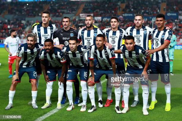 Players of Monterrey pose prior the Semifinals second leg match between Necaxa and Monterrey as part of the Torneo Apertura 2019 Liga MX at Victoria...