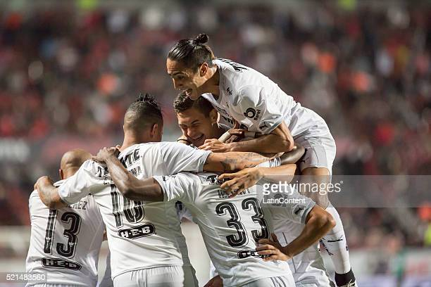 Players of Monterrey their second goal during the 14th round match between Monterrey and Tijuana as part of the Clausura 2016 Liga MX at Caliente...