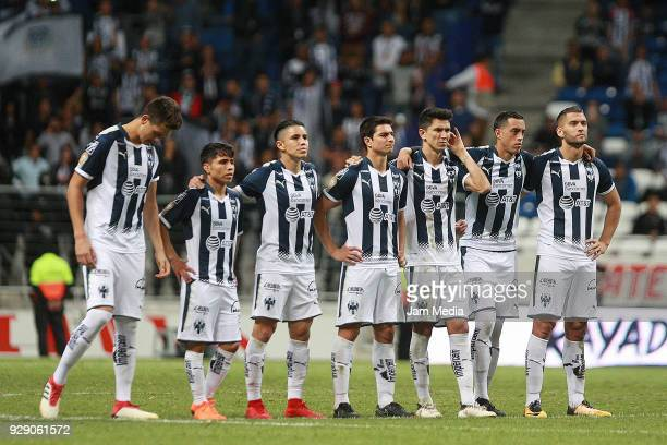 Players of Monterrey wait in the penalty shootout during the round of 16th between Monterrey and Queretaro as part of the Copa MX Clausura 2018 at...