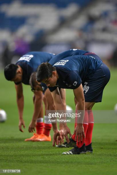 Players of Monterrey warm up prior a second leg match between Monterrey and Atletico Pantoja as part of Round of Sixteen of Concacaf Champions League...
