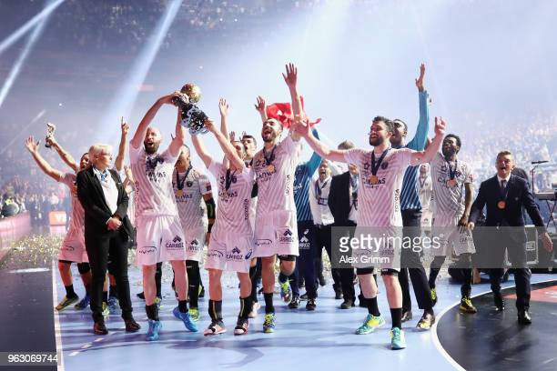 Players of Montpellier celebrate with the fans after winning the EHF Champions League Final 4 Final match between Nantes HBC and Montpellier HB at...