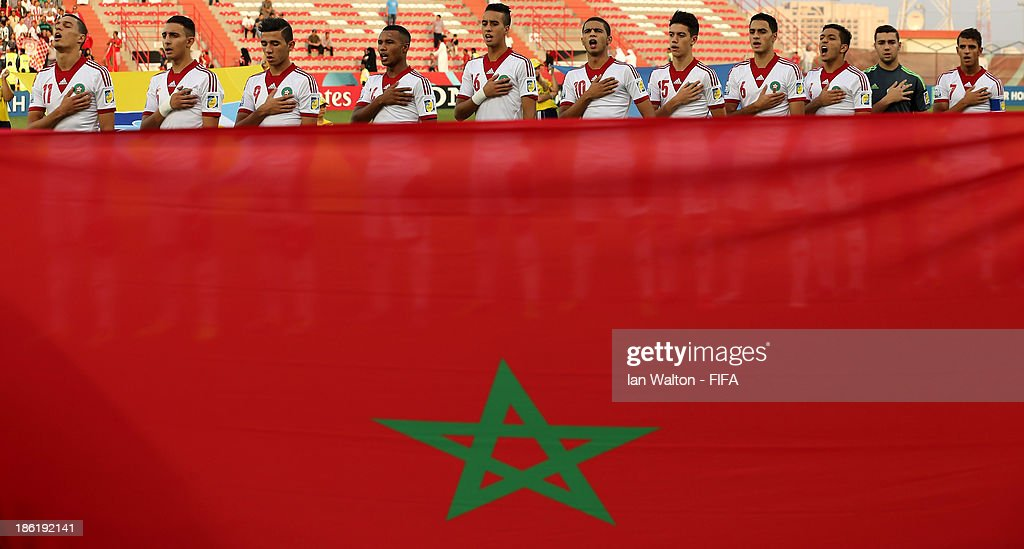 Players of Morocco line up during the Round of 16 match of the FIFA U-17 World Cup between Morocco and Ivory Coast at Fujairah Stadium on October 29, 2013 in Fujairah, United Arab Emirates.