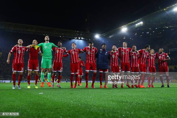 Players of Muenchen celebrate after the Bundesliga match between Borussia Dortmund and FC Bayern Muenchen at Signal Iduna Park on November 4 2017 in...