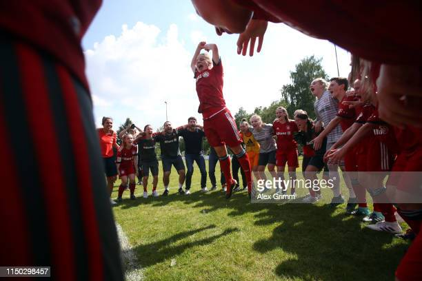 Players of Muenchen celebrate winning the title after the 2 Frauen Bundesliga match between TSG 1899 Hoffenheim II and FC Bayern Muenchen II at...