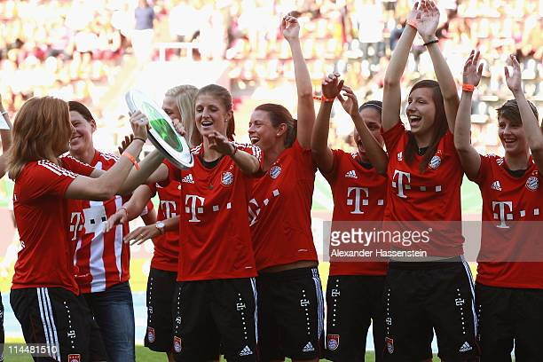 Players of Muenchen celebrates winning the women Bundesliga Cup 2011 at the winners ceremony after the final match between FC Bayern Muenchen and...