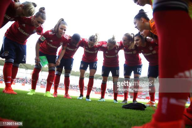 Players of Muenchen gather prior to the Women's DFB Cup Semi Final match between FC Bayern Muenchen and VfL Wolfsburg at FC Bayern Campus Platz 1 on...