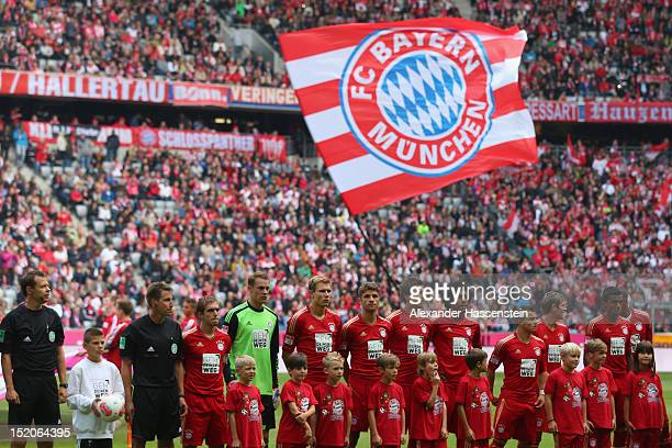 Players of Muenchen line up for the Bundesliga match between FC Bayern Muenchen and 1 FSV Mainz 05 at Allianz Arena on September 15 2012 in Munich...