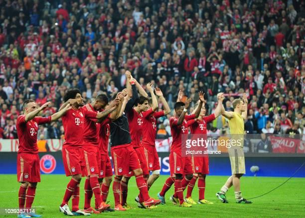 Players of Munich celebrate after defeating Barcelona 40 during the UEFA Champions League semi final first leg soccer match between FC Bayern Munich...