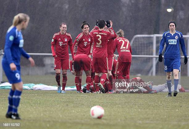 Players of Munich celebrate after Lena Lotzens 10 goal during the Women's Soccer Bundesliga Match between Bayern Muenchen and 1 FFC Turbine Potsdam...