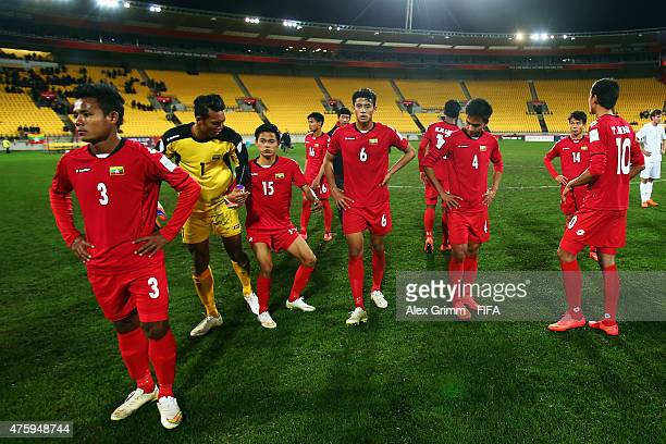 Players of Myanmar react after the FIFA U20 World Cup New Zealand 2015 Group A match between Myanmar and new Zealand at Wellington Regional Stadium...