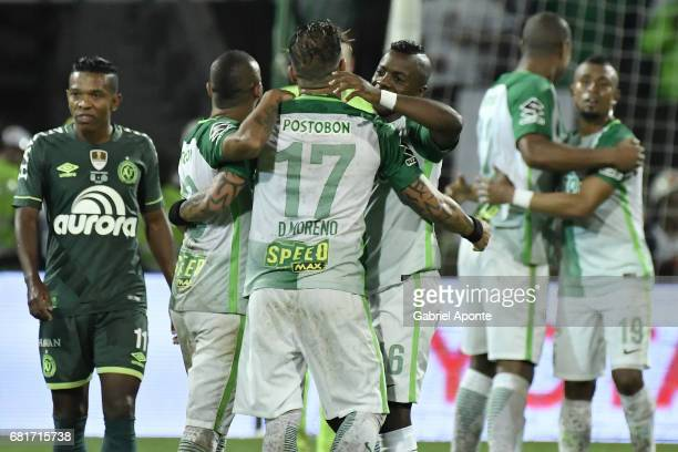 Players of Nacional celebrate as champions of the CONMEBOL Recopa Sudamericana 2017 after winning a match between Atletico Nacional and Chapecoense...
