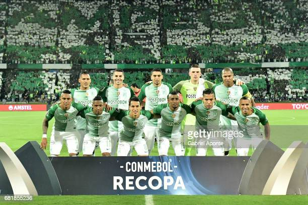Players of Nacional pose for a photo prior a match between Atletico Nacional and Chapecoense as part of CONMEBOL Recopa Sudamericana 2017 at Atanasio...